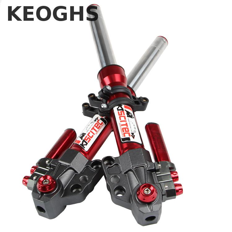 цена на Keoghs Motorcycle Front Shock Absorbers Suspension Hydraulic Fork 380mm/400mm-30mm Not Adjustable For Yamaha Scooter Modify