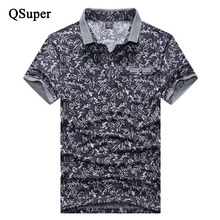 QSuper Floral Printed Cotton Polo Shirts Men Summer Slim Fit Thin Breathable Polo Shirts Men Short Sleeve Turn-down Collar Polo