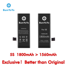 Exclusive ! Better than Original ! Bamyoyo for iPhone 5S Battery 1800mAh>1560mAh 3.82V 6.8Whr Li-ion Polymer Battery Replacement