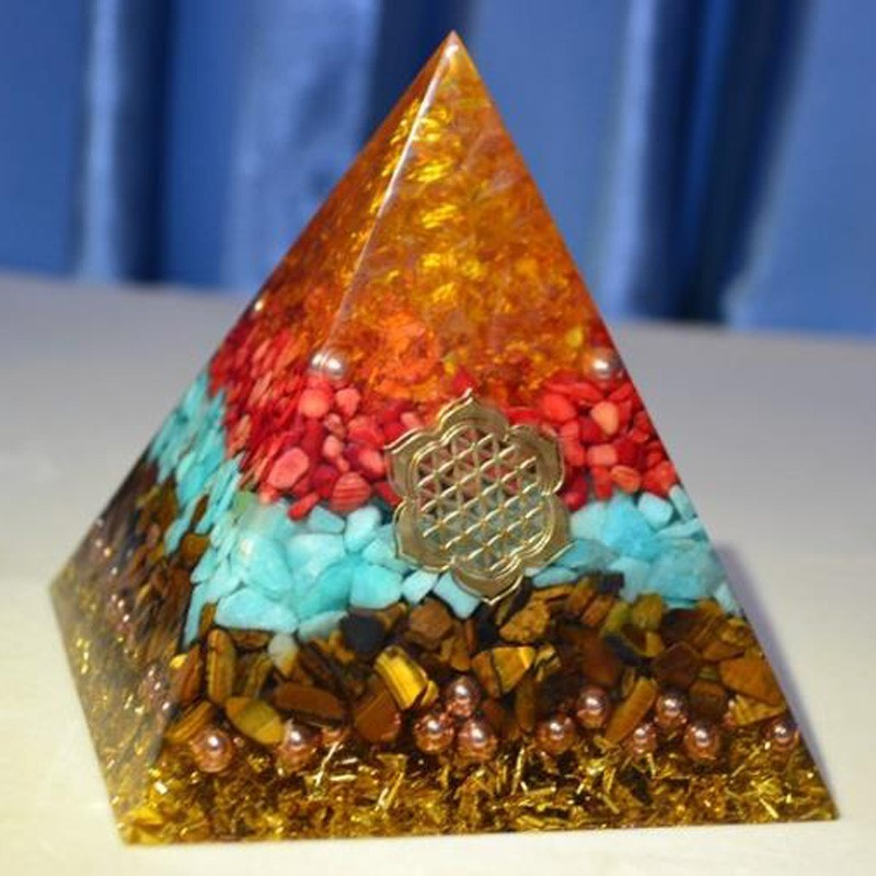 Orgone Pyramid Energy Generator Recruit Wealth Yellow Red Crystal Crystal Transport Feng Shui Goods Of Furniture Orgonite