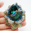 Романтический ювелирные изделия зеленый искусственный кристалл горного хрусталя роза брошь кулон
