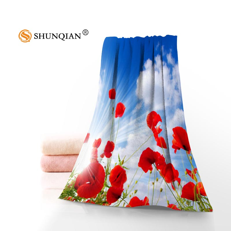Alta calidad amapolas flores Cara toalla/Bañeras toalla microfibra personalizada Telas Toallas tamaño 35x75 cm, 70x140 cm
