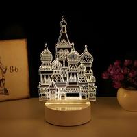 US Plug 3 W Unicorn 3D Visual Children Nightlight Optical Illusion Plexiglass Material LED Desk Lamp