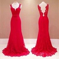 New Sexy Deep V Womens Long Evening Party Dresses Gown Elegant Lace Dress Maxi Red Christmas Dresses Vestido De Festa
