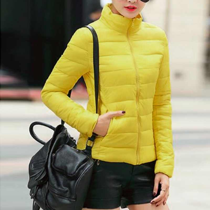 Sfit ผู้หญิงฤดูหนาวสั้น Parka Warm Slim สั้นเบาะผ้าฝ้ายเสื้อแจ็คเก็ต Hooded Coats Solid น้ำหนักเบาลง 2019