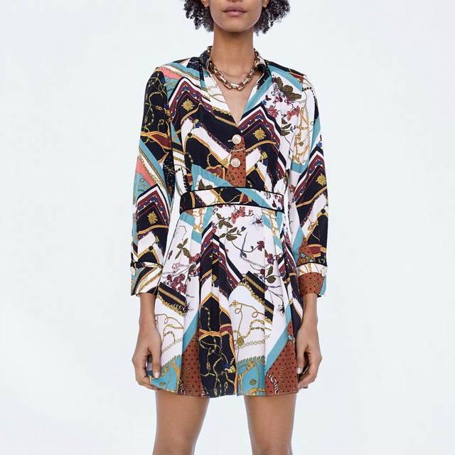 4b065d0278 za Women european CHAIN PATCHWORK PRINT DRESS round neck flowing Dress Hot  Sale Women Clothing vestidos