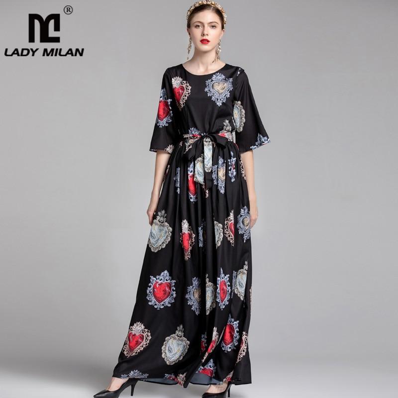 Lady Milan New Arrival 2019 Women s O Neck Short Sleeves Printed Sash Bow Belt Elegant