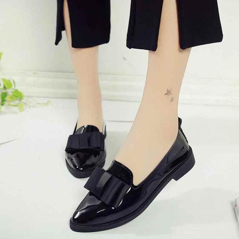 נעליים שטוחות נשים נעלי פרפר קשר מחודדת הבוהן נעלי עור שטוח גבירותיי מקרית פלטפורמת Sapatos Feminino Mocasines Mujer