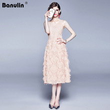 Banulin Luxury Women Evening Party Dresses New Arrival 2018 Spring Autumn Fashion Tassel O-neck Elegant Pink Female Dress