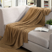 1 PCS High Quality Blankets Pure Color Cotton Plaid Knitted Wool Leisure Blanket For Home Beds