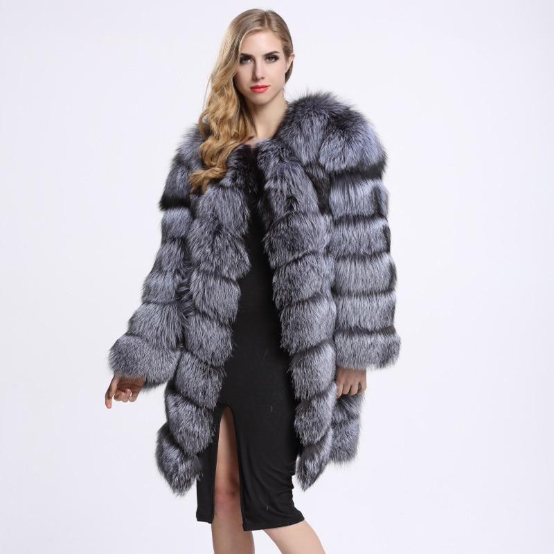 La D'hiver Artificielle Argent Taille Faux Plus En Fourrure Fausse Long De Manteau Femmes Veste Gris xwg6PSFfq