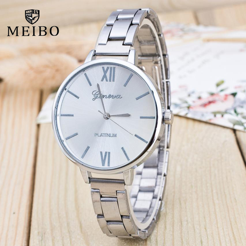 MEIBO Brand Women Watches Fashion Wristwatches 2018 New Geneva Ladies Elegant Watch full Stainless Steel Watch Men Quartz Montre 2018 elegant brand digital watch geneva fashion women watches stainless steel quartz wristwatches unisex clock relogio feminino