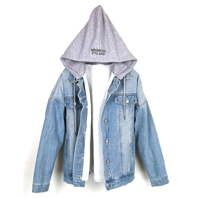 Veste en denim doublé mouton laine d'agneau manche longues décontracté femme jean jacket bleu