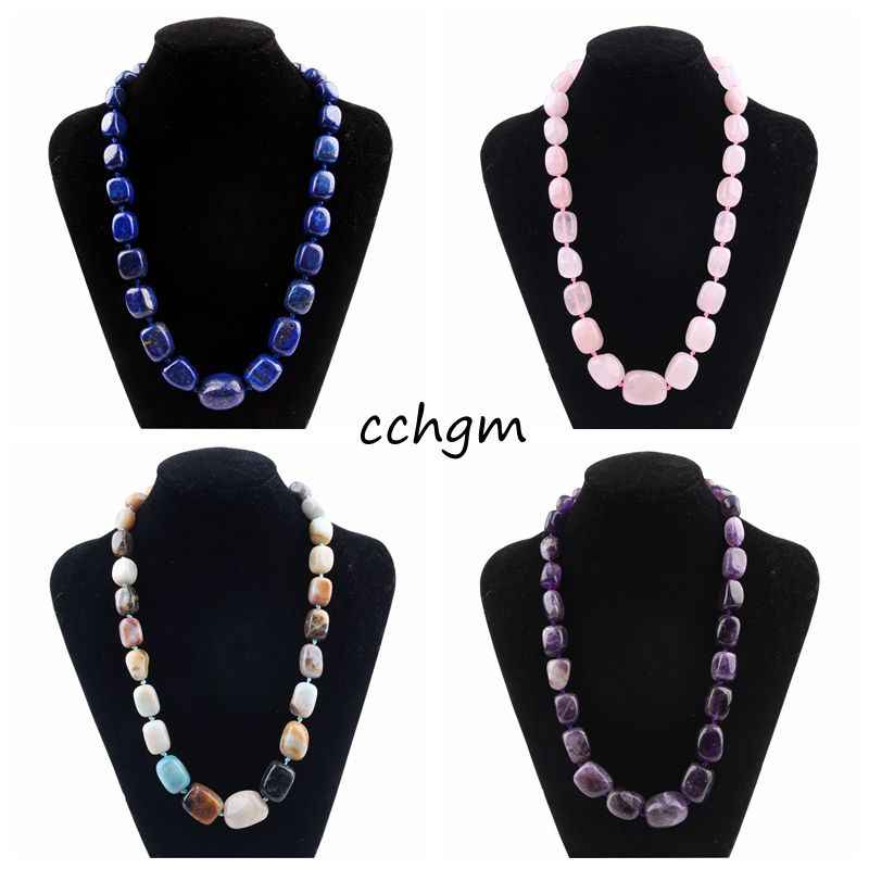 CCHGM Handmade Geometry amethysts Beads Pendants Necklace for Women Natural Stone rock Crystal pink Quartz Fluorite Necklaces