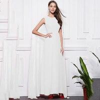 White Sleeveless Celebrity Dress Sexy Long Evening Gown Women Cloak Vestido De Noche Elegante Luxury Avondjurken Gala Jurken