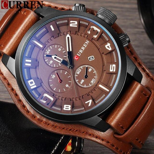 c043a8b55e2 CURREN Top Marca de Luxo Mens Watch Men Relógios Masculino Casual Couro Quartz  Relógio de Pulso