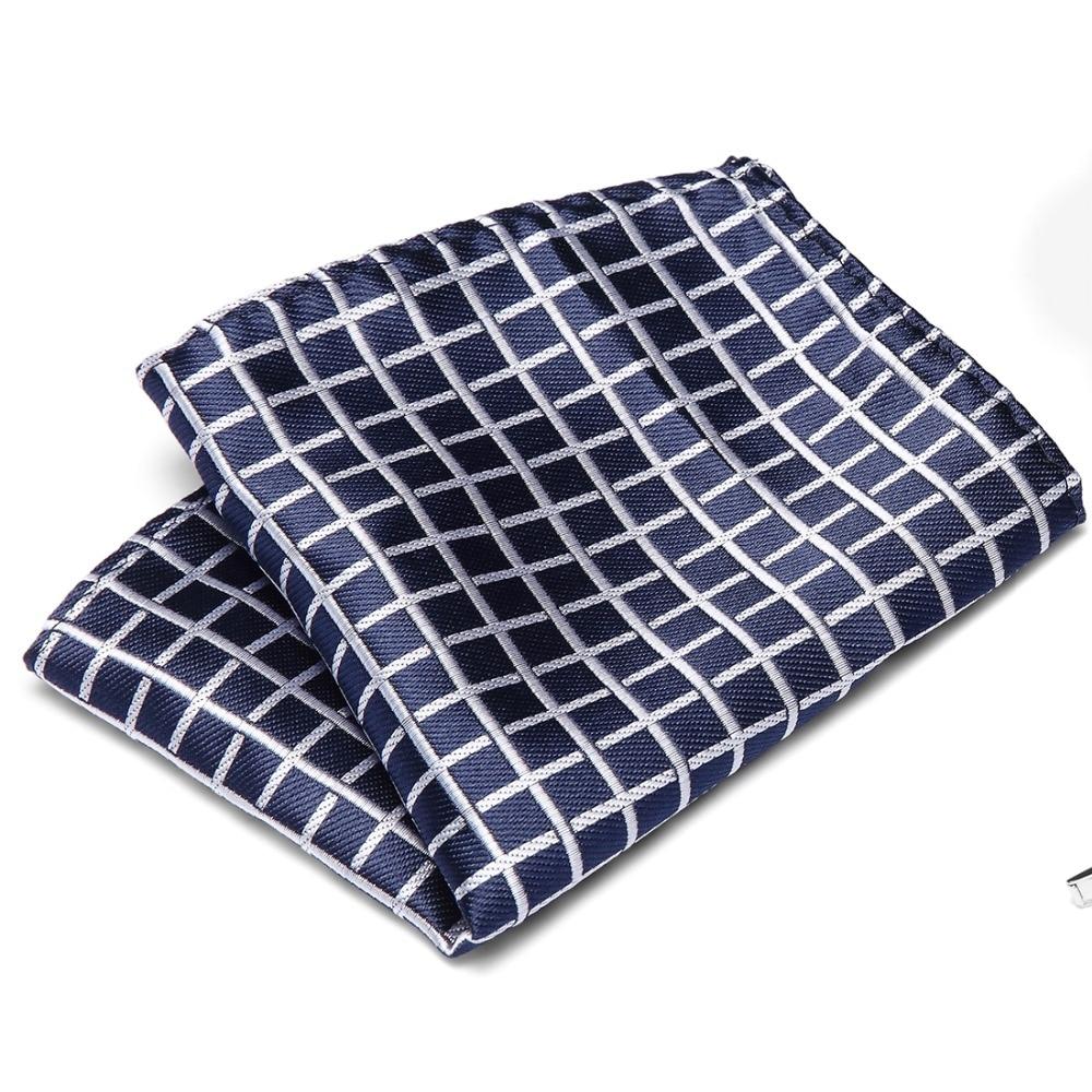 Men's Hanky Polyester Silk Pocket Squares Plaid Design Handkerchief Luxury Groom Wedding Party Chest Towel