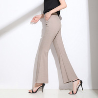 Womens High Waist Pants Regular Fit Office Ladies Elastic Waist Flared Trousers High Stretch Women Formal Flare Pants 6XL 7XL