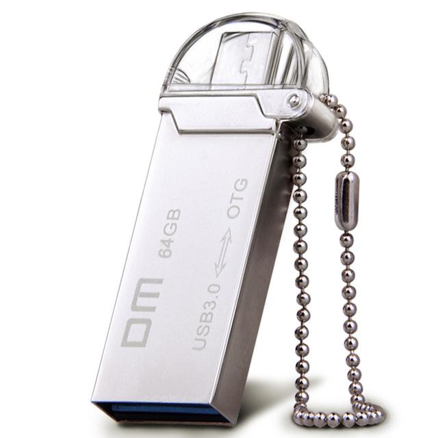 Envío shippingDM PD009 OTG USB 3.0 100% 64 GB USB Flash smartphone pen drive pendrives otg micro usb de metal a prueba de agua usb palo