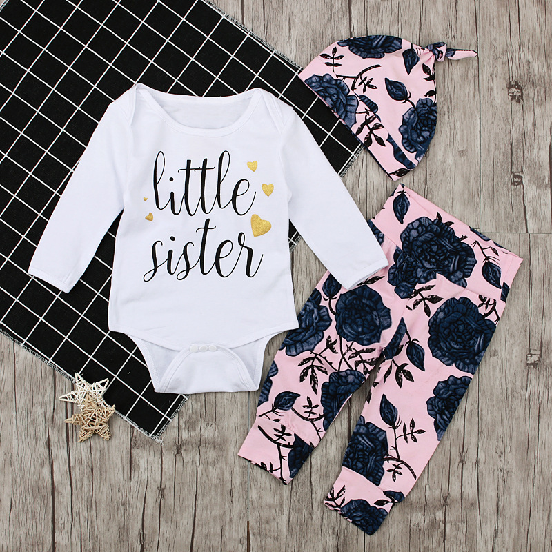 INS Fashion Baby Girls Clothing Newborn Infant Romper Pants Set 3PCS Baby Set Autumn Baby Clothes