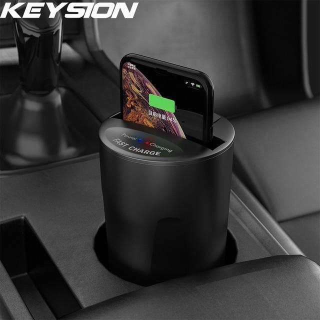 KEYSION سريع تشى اللاسلكية شاحن آيفون XS ماكس XR X سيارة كأس حامل عمود شحن ل شياو mi mi 9 لسامسونج S10 S9 نوت 9