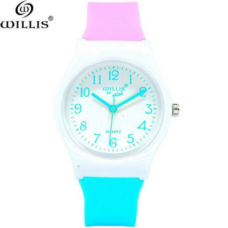 WILLIS Brand Sports Children Watches For Boy Girl Waterproof Swimming Wristwatch Kids Silicone Quartz Cute Watch