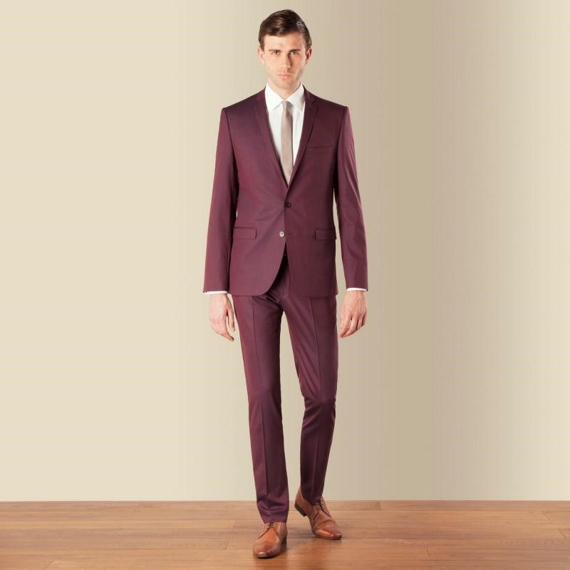 Hommes Costumes Deux as Fit Made Custom Meilleur 2017 Slim Promtuxedos Notch Mariage Partie Picture manteau Revers Burgundye Pantalon Mode Boutons Homme Picture De As f80WwIq