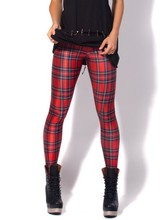 New Arrival Women 2016 Designed Digital Printed Milk Vintage Tartan Red Leggings Drop Shipping