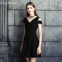 CEEWHY Burgundy V neck Little Black Dress Formal Party Mini Dress Vestidos de Coctel Short Cocktail Dress A line Party Dress