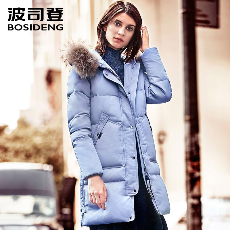 BOSIDENG New Winter Collection 2017 Womens mid-Length down Jacket thick Warm Jacket Coat for Women real fur collar B1601304