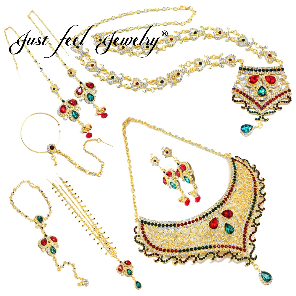 JUST FEEL 7 Pcs India Jewelry Set Luxury Kundan Crystal Necklace Earring Ring Bracelet Headdress Nose Chain For Bride Wedding