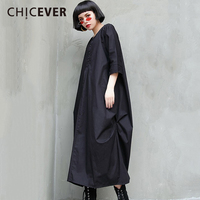 CHICEVER 2018 New Spring Women Dress Shirt Three Quarter Sleeve Drawstring Casual Women S Dresses Of