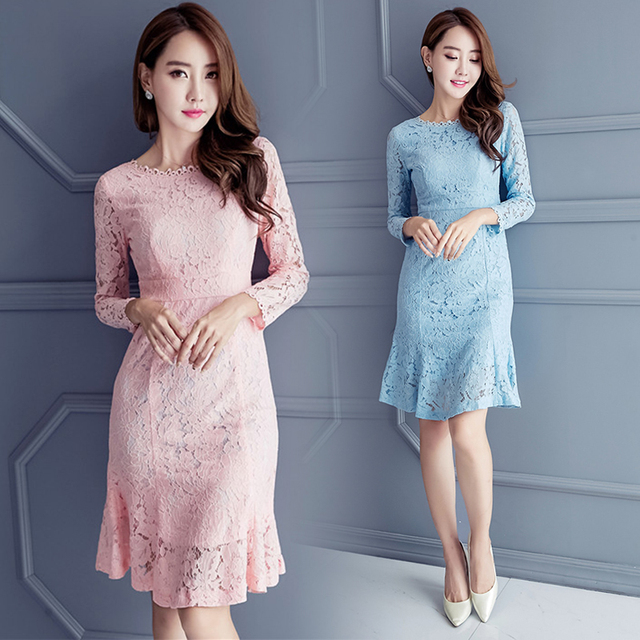 9b500e2246 2018 elegant lace dress Antumn korean fashion sexy Light blue Pink Elegant  Knee Length dress O-neck long sleeves dress