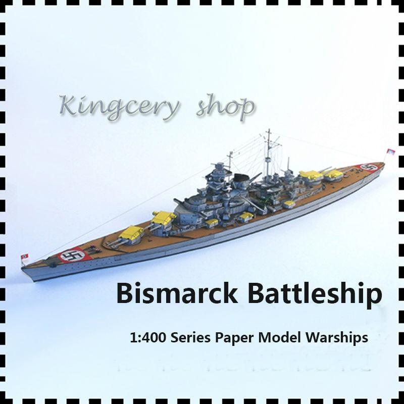 Нови уради сам 1: 400 Бисмарцк бојни брод, картон / картон / уради сам модел папира, ПУЗЗЛЕ 3Д играчке / кубне дечије играчке