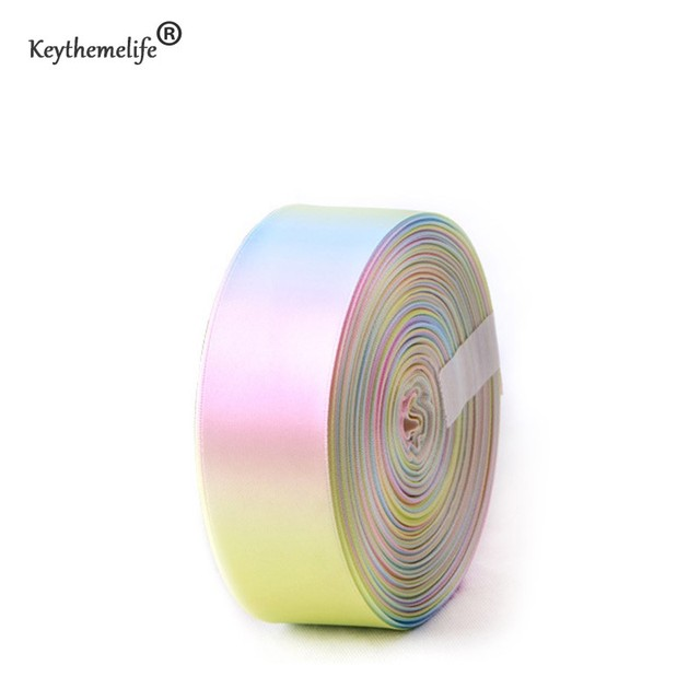 Rainbow Gradient Ombre Light Color Single Faced Printed Ribbons 50 Yards/Roll DIY #