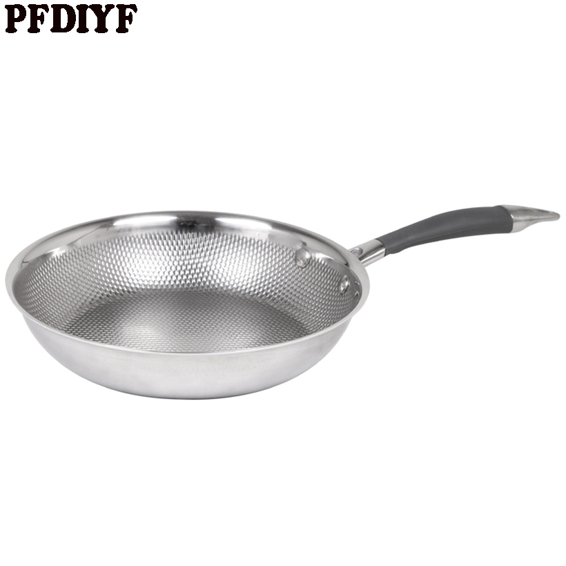 PFDIYF 304 Stainless Steel Frying Pan Uncoated Non Stick 20cm Skillet Pan thick three layer Pans With Anti skid Anti hot handle