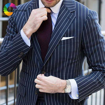 Custom Made Navy Blue Men Suits for Business Casual Groom Tuxedo Slim Fit Man Blazers Costume Homme Prom Wear Terno Masculino