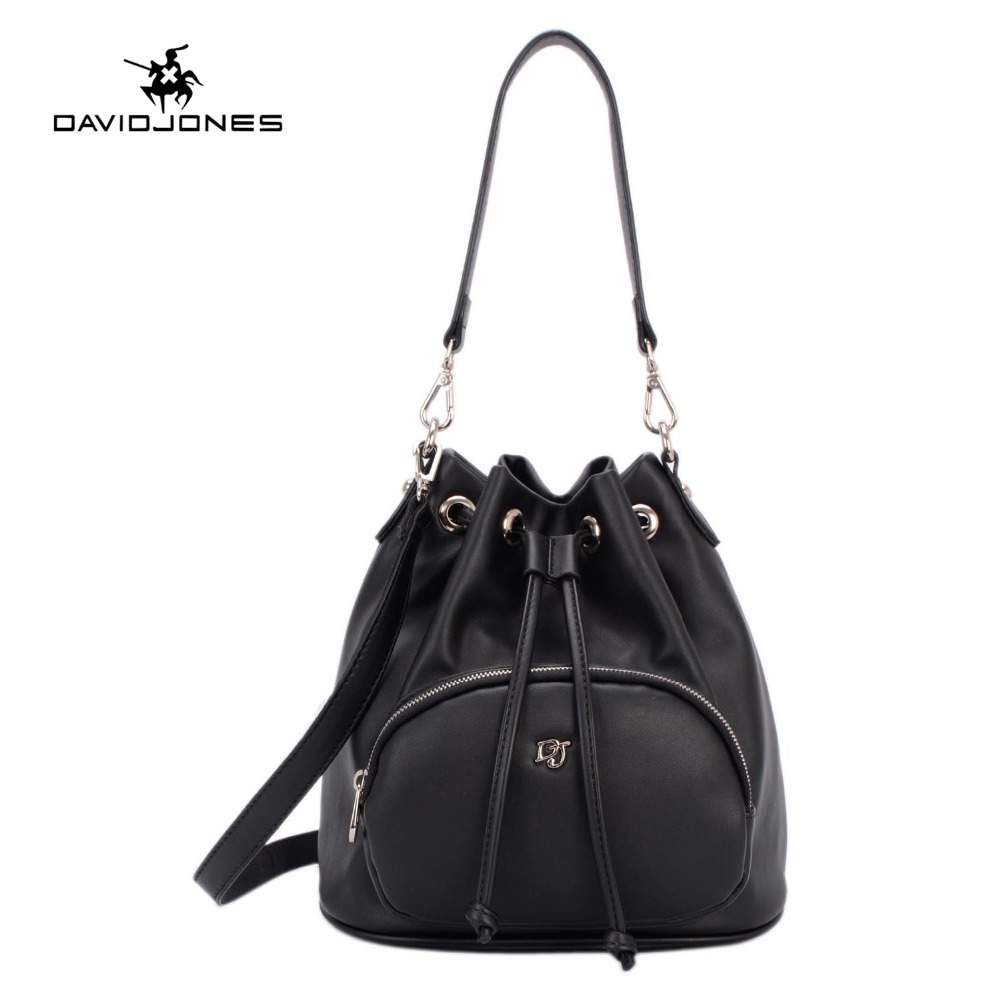 ФОТО DAVIDJONES Bucket bag women Pu String Shoulder bag Luxury Bags Famous Designer ladies Handbag fashion teenage girls