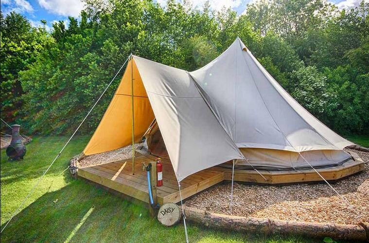 DANCEHL 4M 5M Cotton Canvas Two Stove Jacket Bell Tent with 4x3m Sun Shelter-in Tents from Sports u0026 Entertainment on Aliexpress.com | Alibaba Group & DANCEHL 4M 5M Cotton Canvas Two Stove Jacket Bell Tent with 4x3m ...