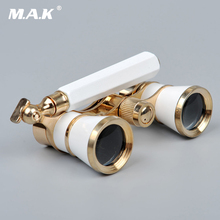3×25 Brass Coated Lens Binocular Telescope Opera Theater Glasses with Retractable Handle for Watching Women Girls Gifts