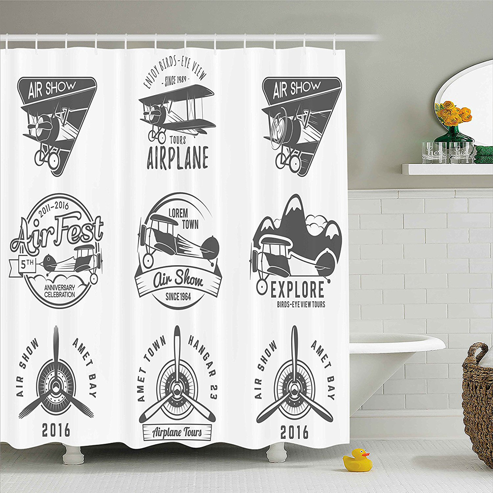 Airplane Emblems Biplane Labels Badges Design Elements Aviation Stamps Collection Print Polyester Shower Curtain In Curtains From Home