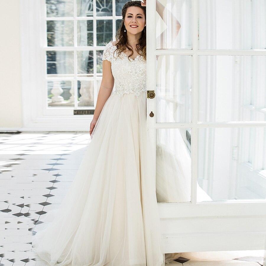 Eightale Plus Size Wedding Dress V neck Gorgeous Cap Sleeve Lace Applique Tulle A line Bridal