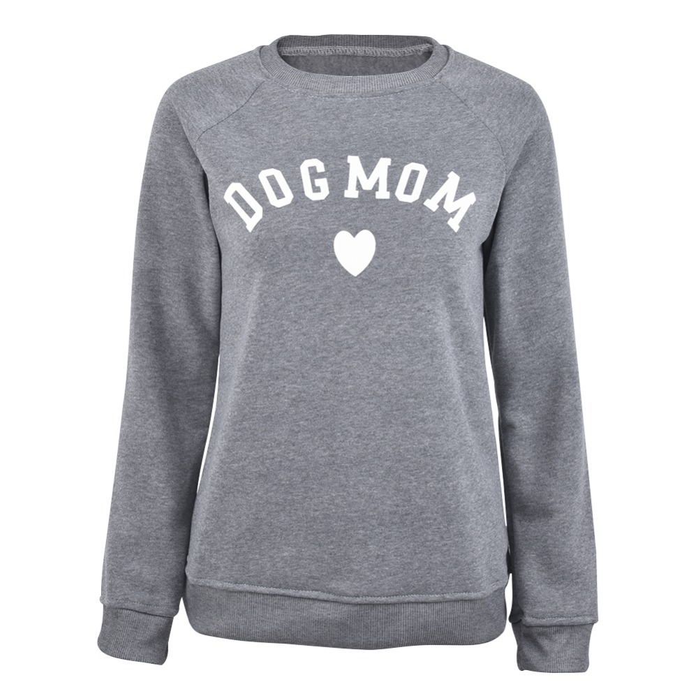 Dog Mom Long Sleeve Casual Sweatshirt Women's Prin...