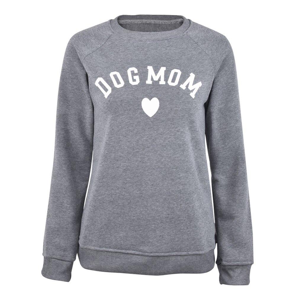 Perro mamá Casual de manga larga sudadera estampado de las mujeres de moda en forma de corazón, Kawaii, camiseta de impresión de patrón
