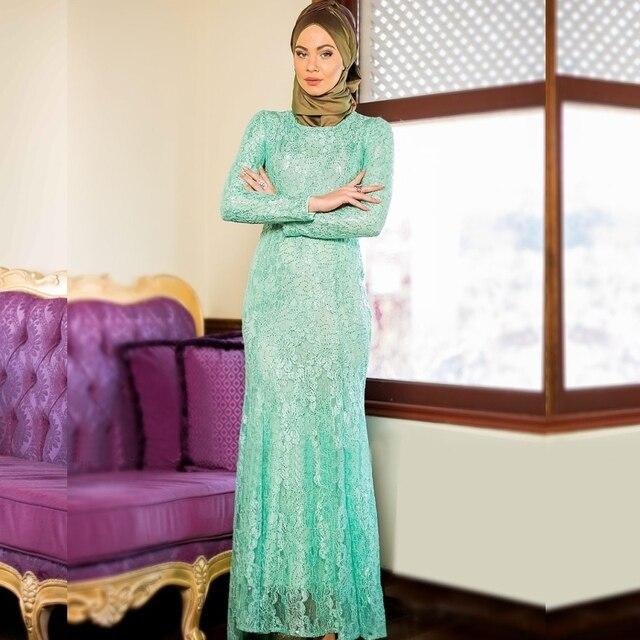 40a11dac17 2016 New Arrival Green Lace Muslim Evening Dresses Abaya in Dubai Moroccan  Kaftan Caftan Hijab Underscarf Jilbabs and Abayas