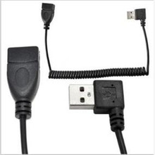 1000PCS/ Spring wire extension cable usb2.0 extension cable Data line AM to AF male to female left bend 90 ° mobile computer, usb 3 0 am to af extension cable 90cm length