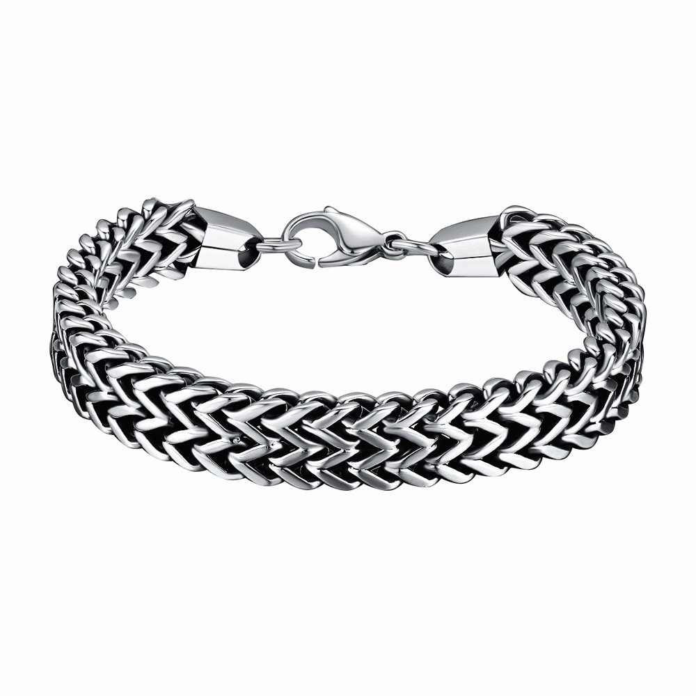 Mens bracelets & Bangles Drop Shipping 5*12mm316L Stainless Steel Double Side Snake Chain Womens Bracelet Jewelry Gift pulseira