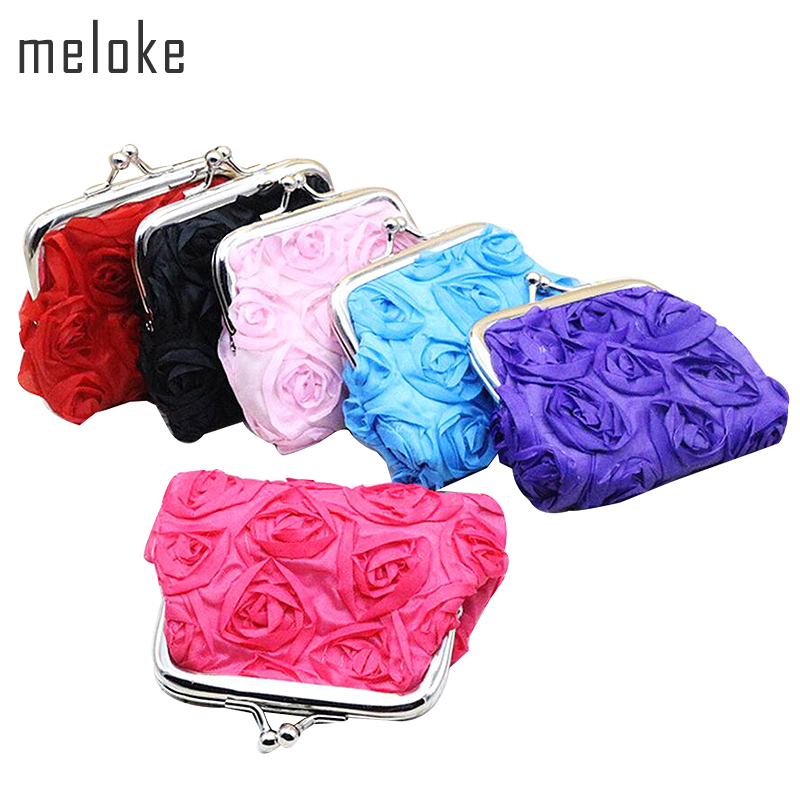 Meloke Coin Purse Money-Pouch Rose-Flower Girls Mini Women Ladies 3D for Party Gift MN212
