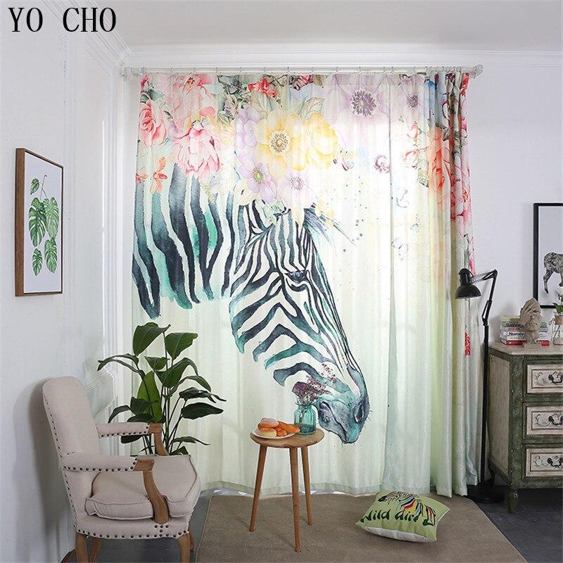 YO CHO moderne coloré zèbre rideaux pour enfants rideaux occultants chambre produit fini aveugle rideau fenêtre pure rideau