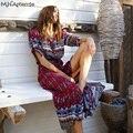 M. H. Artemis Elegante Étnico Folk Botón Frontal de Impresión Mujeres de La Vendimia Vestidos de Playa Maxi Vestido Pluz tamaño de Boho 2016 Vestido de Camisa Larga